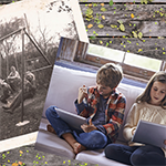 Old photo of children playing outside next to modern photo of children playing inside on electronic devices.