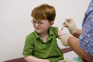 Boy getting vaccine