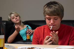 Teens smoking and drinking