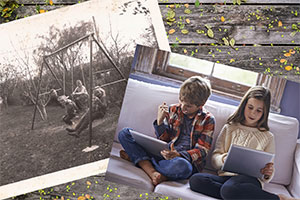 Old photograph of kids playing on swings and new photograph of kids playing video games