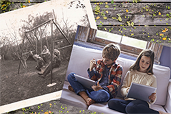An old photo of children playing outdoors on a swing set and a new photo of children playing video games inside.