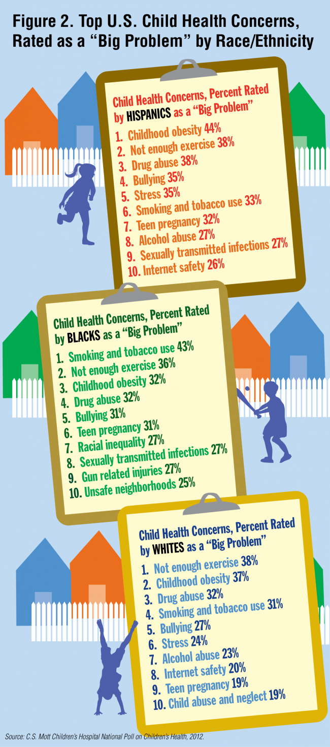 "Figure 2. Top U.S. Child Health Concerns Rated as a ""Big Problem"" by Race/Ethnicity"