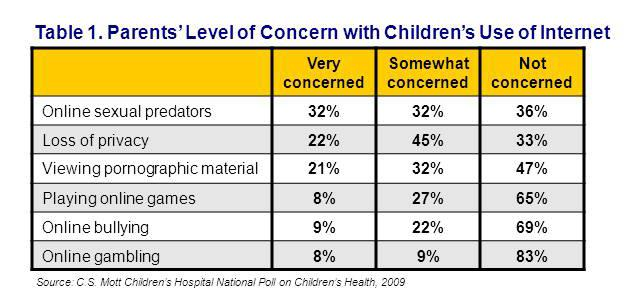 Parents' level of concern with children's use of Internet
