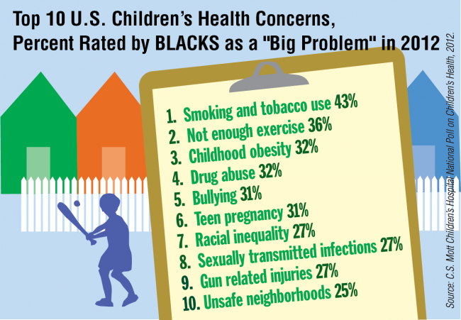 "Top 10 U.S. Children's Health Concerns, Percent Rated by Blacks as a ""Big Problem"" in 2012"