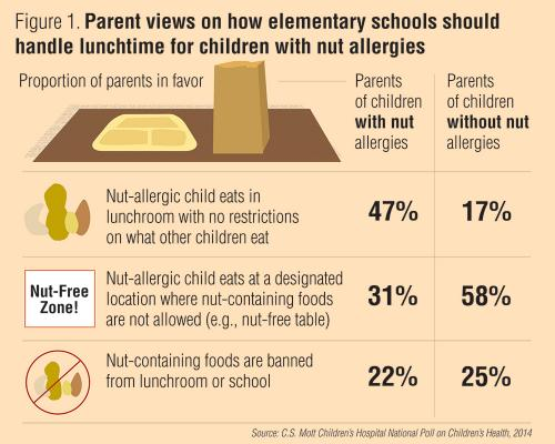 Parent views on how elementary schools should handle lunchtime for children with nut allergies